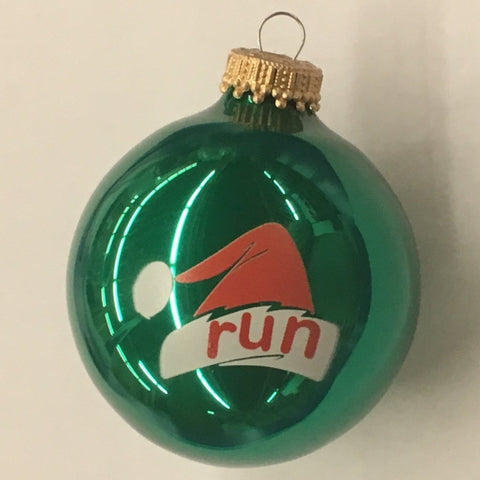 Christmas Ornament run Santa Cap - Green