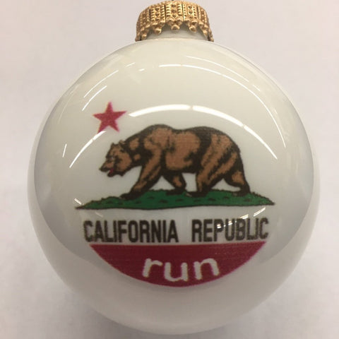 California State Flag Run Christmas Ornament