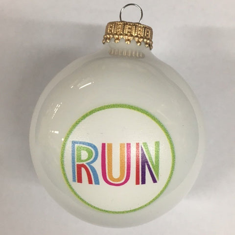 Christmas Ornament Run Joy - White