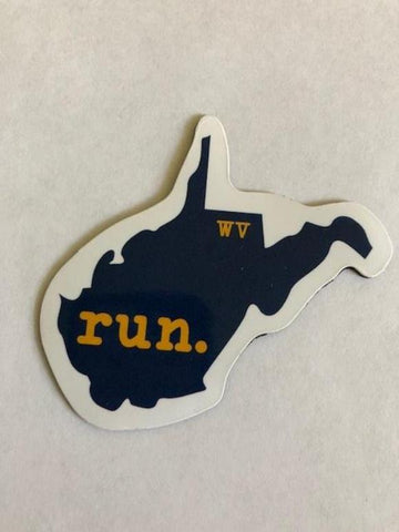 West Virginia Run State Outline Magnet - Blue