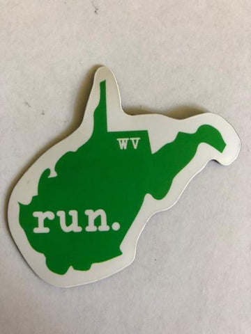 Run West Virginia State Outline Magnet - Green