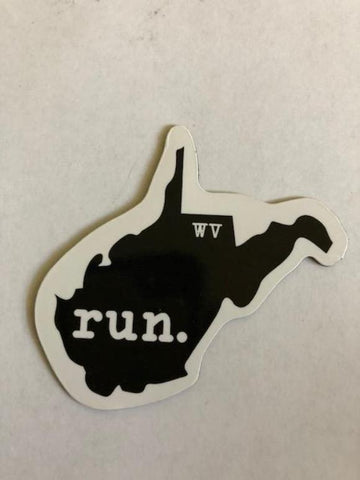 Run West Virginia State Outline Magnet - Black