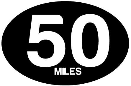 50 Miles Black Oval Decal