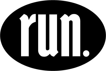 Run. Oval Decal - Black