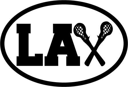 LAX with Lacrosse Sticks Oval Decal