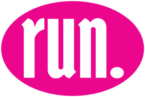 Run. Oval Decal - Pink