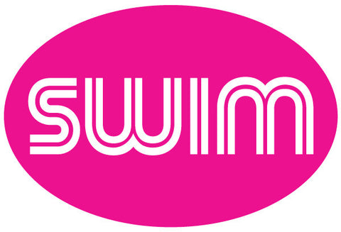 Swim Retro Oval Magnet - Pink
