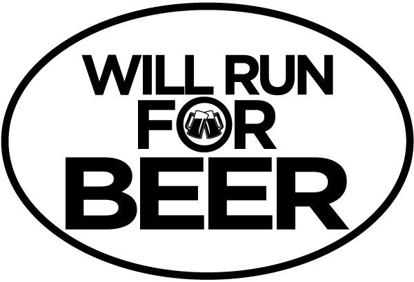 Will Run For Alcohol Oval Magnet