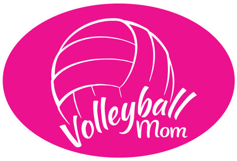 Volleyball Mom Oval Magnet - Pink