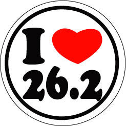 I Heart 26.2 Round Decal