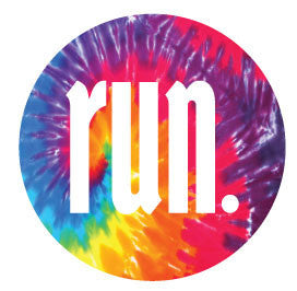 Run. Round Decal - Tie-Dye