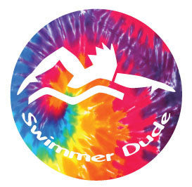 Swimmer Dude Round Decal - Tie-Dye