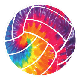 Volleyball Round Decal - Tie-Dye