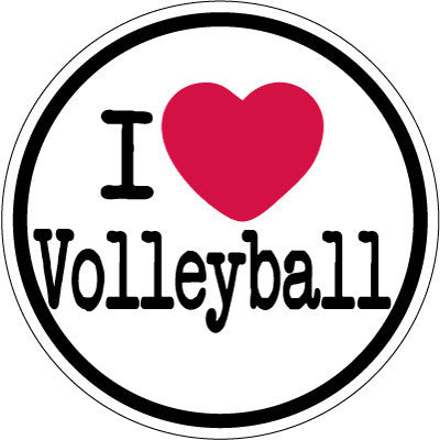 I Heart Volleyball Round Decal