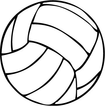 Volleyball Round Decal - Black