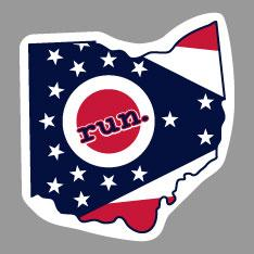 Ohio Run State Outline Decal - Flag