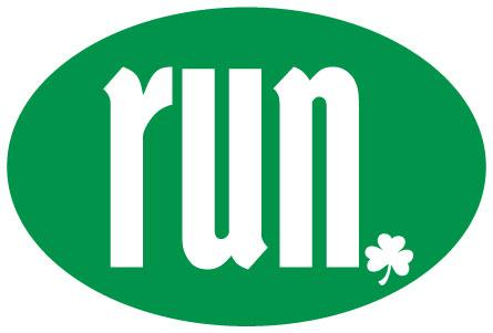 run. Dark Green Shamrock Dot Oval Decal