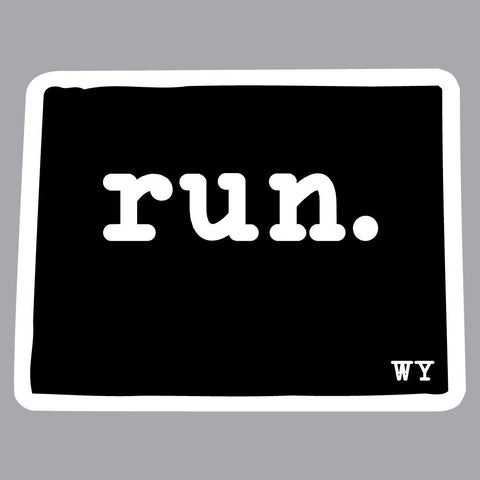 Wyoming Run State Outline Decal