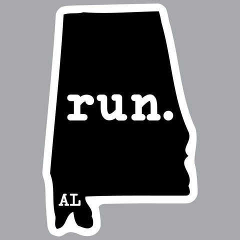Run Alabama State Outline Decal
