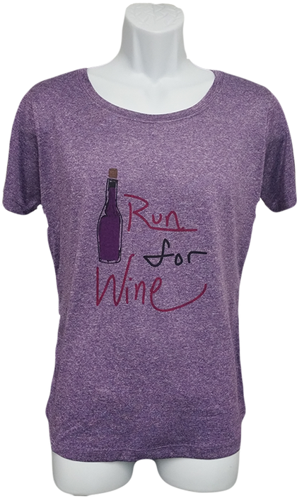 Will Run For Wine - Women's Scoop Neck Tech Shirt - Heather Purple