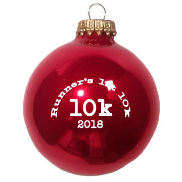Christmas Ornament Runners First 10k 2018 - Red