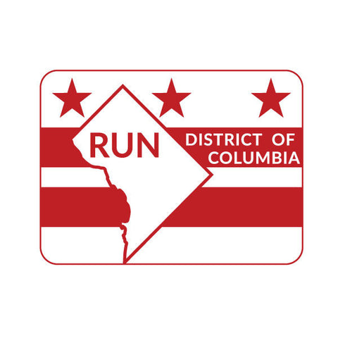 Run. District of Columbia State Outline Magnet - State Flag Background