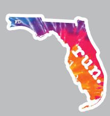 Florida Run State Outline Decal - Tie-Dye
