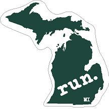 Michigan Run State Outline Decal - Green