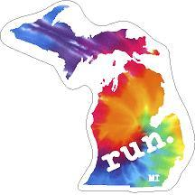 Michigan Run State Outline Decal - Tie-Dye