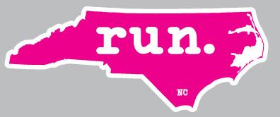 North Carolina run. Colored Outline Decal