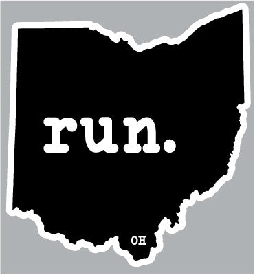 Run. Ohio State Outline Magnet - Black