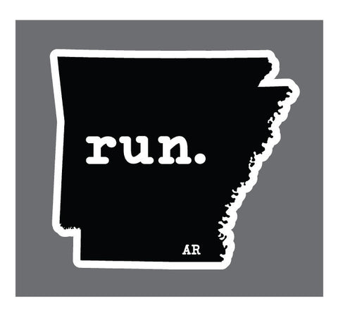Run. Arkansas State Outline Magnet - Black