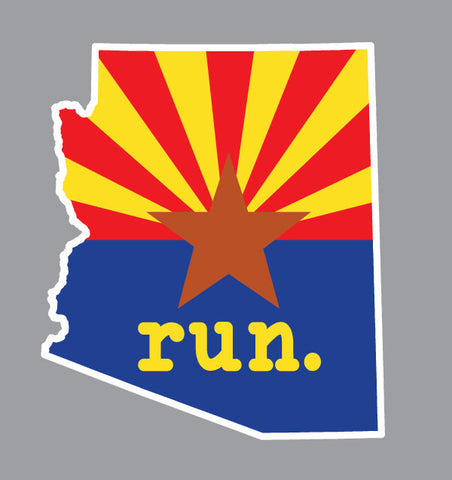Run. Arizona State Outline Magnet - State Flag Background