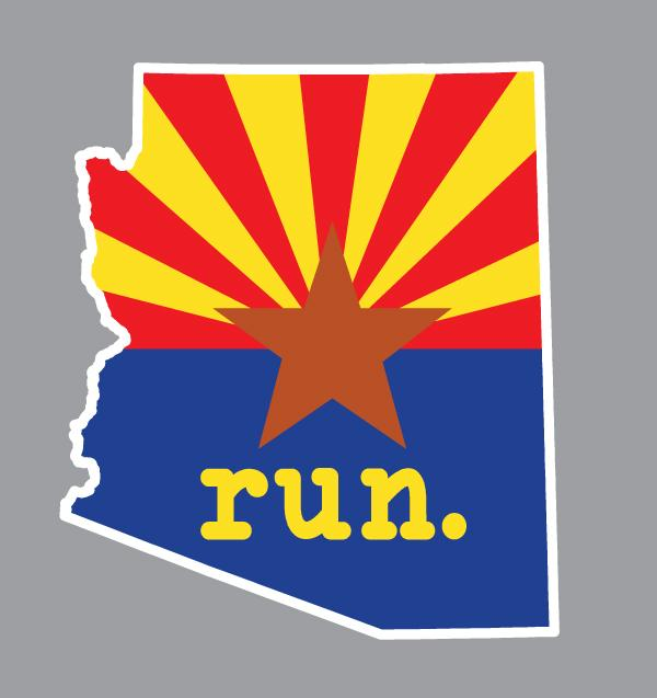 State Flag run. Outline Decal