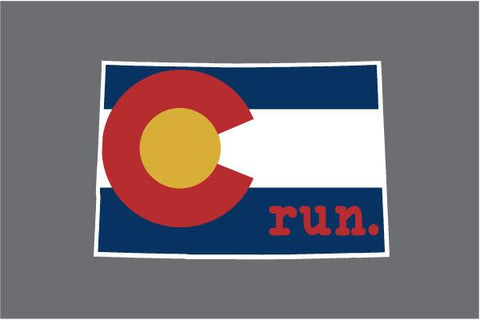Colorado Run State Outline Decal - Flag