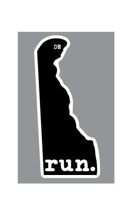 Run. Delaware State Outline Magnet - Black