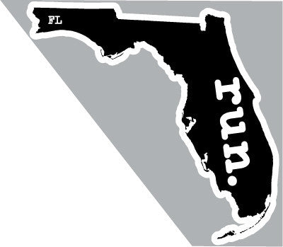 Florida Run State Outline Magnet - Black