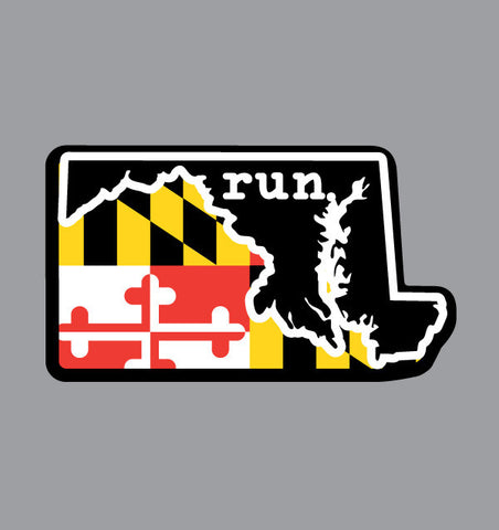 Run. Maryland State Outline Magnet - State Flag Background
