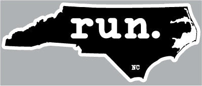 Run. North Carolina State Outline Magnet - Black