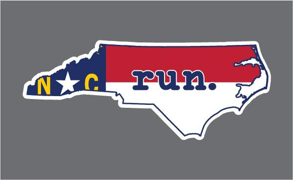 North Carolina Flag run. Outline Decal