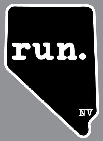 Run Nevada State Outline Magnet - Black