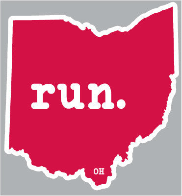 Ohio run. Red Outline Magnet