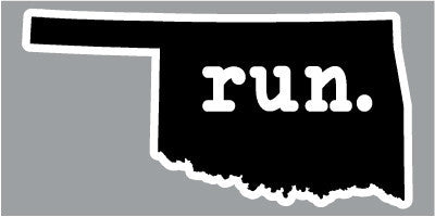 Run. Oklahoma State Outline Magnet - Black