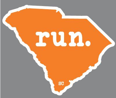 South Carolina Run State Outline Decal - Orange