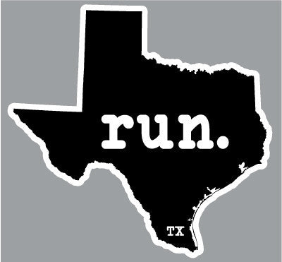 Run. Texas State Outline Magnet - Black