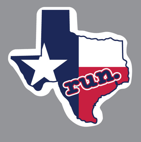 Run. Texas State Outline Magnet - State Flag Background