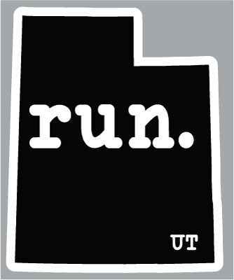 Run. Utah State Outline Magnet - Black