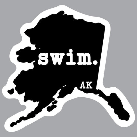 Alaska Swim State Outline Decal