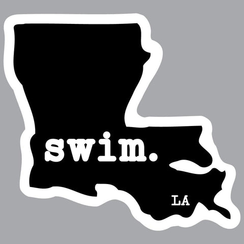 Louisiana Swim State Outline Decal