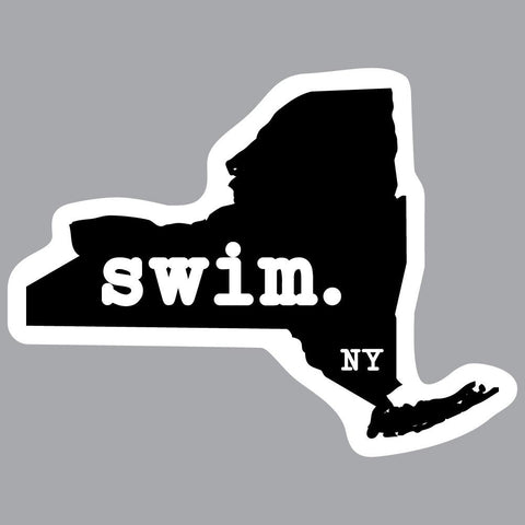 New York Swim State Outline Decal